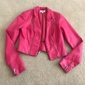 "Charlotte Russe Hot Pink ""Leather"" Jacket- crop"